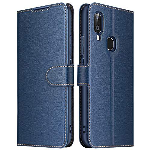 ELESNOW Funda Samsung Galaxy A20e, Premium Cuero Billetera Flip Protectora Carcasa Magnético para Samsung Galaxy A20e (Azul)