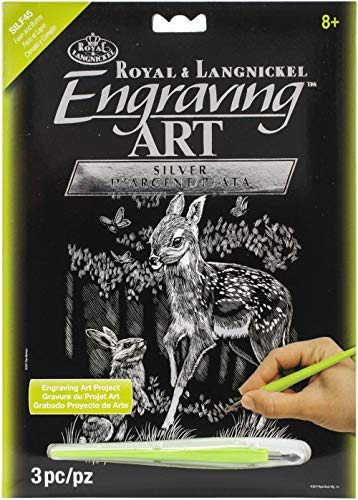 Royal and Langnickel Silver Foil Engraving Art Kit 8 inch x 10 inch - Fawn and Bunny