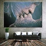 Pintura por Números para Adultos Dulce beso entre hombres y mujeres en el agua. Kit de Pintura al óleo de Pigmento Acrílico Pintura de Dibujo DIY 40x50cm Sin marco