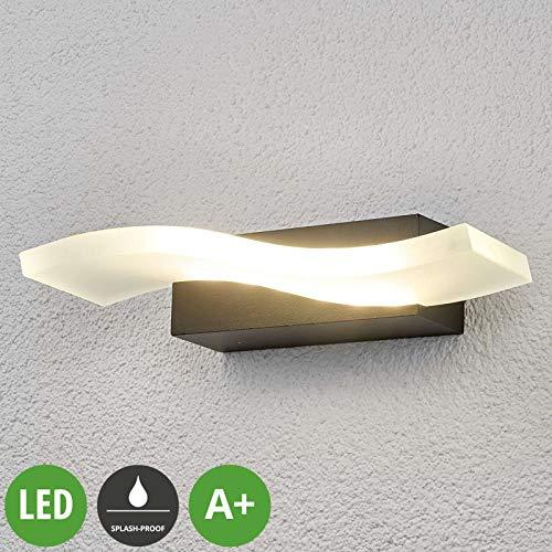 Lampenwelt LED Wandleuchte außen 'Jirka' (spritzwassergeschützt) (Modern) in Alu aus Aluminium (1 flammig, A+, inkl. Leuchtmittel) - LED-Außenwandleuchten Wandlampe, Led Außenlampe, Outdoor Wandlampe