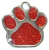 Placa de identificación para mascota grabada en color rojo brillante de 27 mm grabada y grabada por M&K Supplies. Diseño de perro gato para regalo de identidad