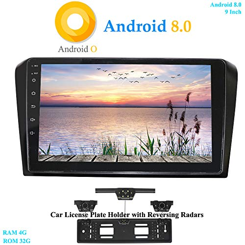 XISEDO 9' Android 8.0 Car Stereo In-Dash Autoradio 2 Din 8-Core RAM 4G ROM 32G Head Unit Car Radio Car GPS Navigation for Mazda 3 (2004-2009) (with UK/EU License Plate Frame)
