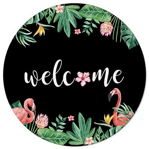 SunShine Day Modern Round Area Mats, Protea Flowers Monstera Leaves and Flamingos Large Rugs for Nursery Kids, Floor Mats for Any Entrance Or Exit 3.3 Feet