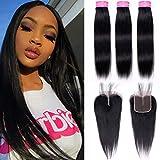 Peruvian Straight Hair Bundles with Closure 100% Unprocessed Peruvian Virgin Straight human hair weave 3 Bundles with Lace Closure Middle Part 70g/Bundle (12 14 16+10) Natural Color