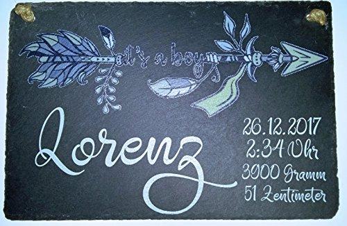 Geschenk zur Geburt - Geburtsteller Geburtstafel aus Schieferstein schwarz 30cm x 20cm - personalisierte Geschenksidee zur Geburt von Buben mit den Geburtsangaben Name,Datum,Uhrzeit,Gewicht,Größe