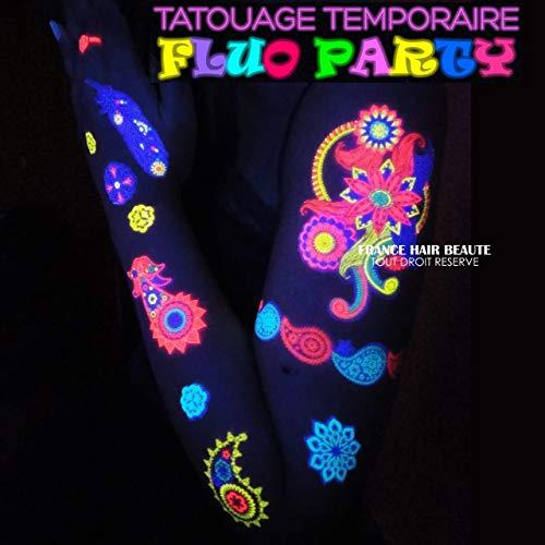Soiree Fluo 2 Planches + 1 Gratuite en Plus de Tatouages Fluorescent temporaires Papillons + 1 GRATUITES. Cadeaux pour Filles et Femmes et Cadeaux d'anniversaire.