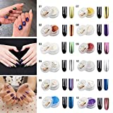 Aliver 12 Colors Nail Glitter Mirror Powder Shinning Nail Art DIY...