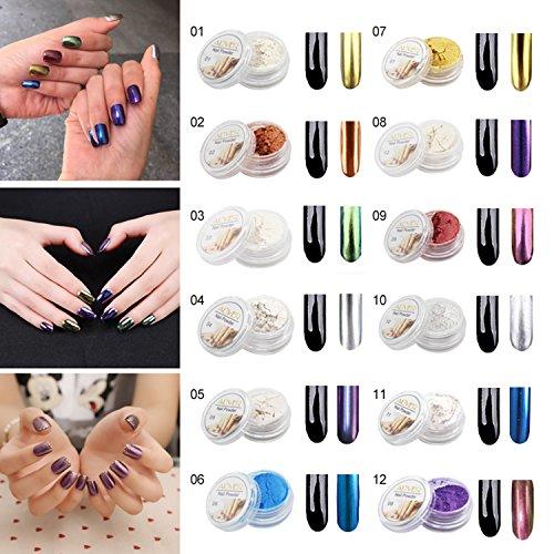 Aliver 12 Farben Nagel Glitter Spiegel Pulver Shinning Nail Art Pulver