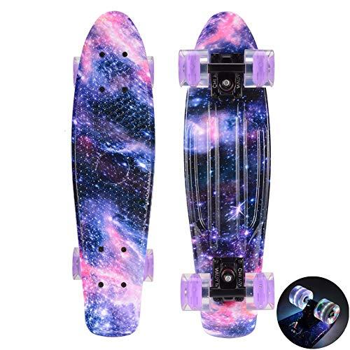 EYLIFE 56 cm Skateboard Komplette Mini Cruiser Retro Skateboard mit Buntem LED-Lichtrad für Kinder, Jungs, Mädchen,1