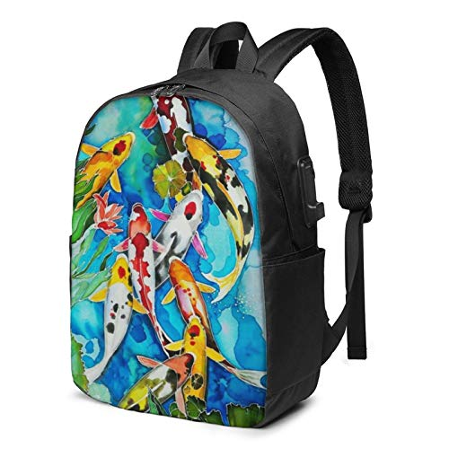 Watercolor Koi Fish Travel Laptop Backpack College School Bag Casual Daypack with USB Charging Port