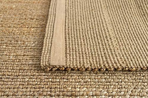 HAMID Juteteppich - Giralda Teppich 100% Natürliche Jutefaser - Weicher Teppich und Hohe Festigkeit - Handgewebt - Wohnzimmer, Esszimmer, Schlafzimmer, Flurteppich - Natürlich (170x120cm) - 6