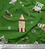 Soimoi Verde Popeline di Cotone Tessuto Caramelle, Cavallo a Dondolo e xilofono Bambini Tessuto Artigianale Stampato dal Metro 56 Pollici Larghi