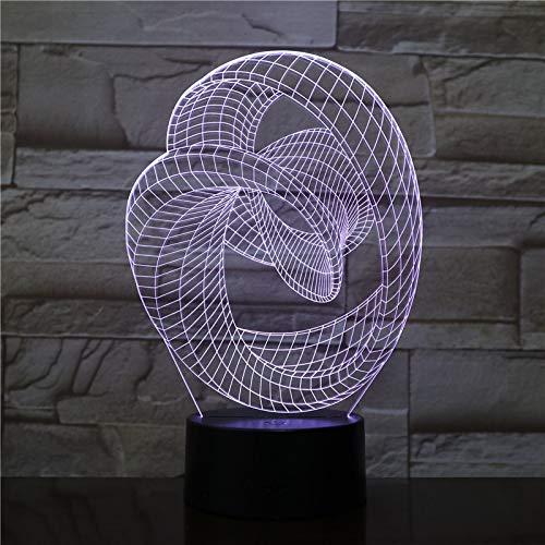 LIkaxyd Luz Nocturna 3D Abstracción Artística Led Lámpara De Mesa Luces De Noche Para Niños Decoración Tabla Lámpara De Escritorio 7 Colores Cambio De Botón Táctil Y Cable Usb