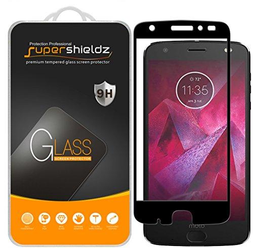 Supershieldz (2 Pack) for Motorola (Moto Z2 Force) Edition and Moto Z Force Edition (2nd Gen) Tempered Glass Screen Protector, (Full Screen Coverage) Anti Scratch, Bubble Free (Black)