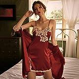 Pijama De Satén para Mujer,Moda Rojo Sexy Novia Y Dama De Honor Boda Juego De Lencería Y Bata, Pijama De Encaje Pijama, Sedoso Suave Hogar Llevar Elegante Y Cómodo, M
