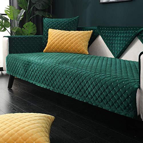 HXTSWGS Cojín de Felpa para sofá, cojín Acolchado de Invierno, Funda de sofá de Tela Antideslizante Verde Oscuro_90 * 210cm