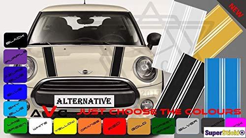 SUPERSTICKI Mini Motorhaube Streifen Aufkleber Sticker Decal aus Hochleistungsfolie Aufkleber Autoaufkleber Tuningaufkleber Racingaufkleber Rennaufkleber Hochleistungsfolie für alle Glatte