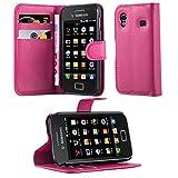 Cadorabo Hülle für Samsung Galaxy ACE 1 in Cherry PINK - Handyhülle mit Magnetverschluss, Standfunktion & Kartenfach - Hülle Cover Schutzhülle Etui Tasche Book Klapp Style