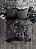 Bettwäsche 135x200 cm. 4 teilig Set, Anthrazit, 100% Baumwolle/Renforcé mit Reißverschluss Atmungsaktiver Bettbezug schwarz geometrische Muster mit Kissenbezug 80x80 cm. Monza V1