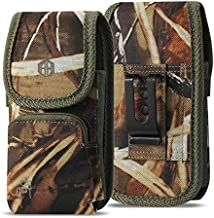 Military Grade Camo Case w/ Storage Pocket, Compatible w/iPhone Xs Max XR iPhone 8 Plus,7 Plus,6s Plus, OnePlus 6T Rugged Canvas Pouch Holster Carrying Bag Fits Phone with Battery Case and Defender