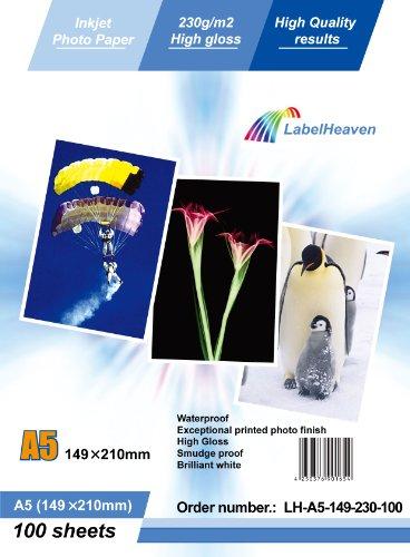LabelOcean Premium Papel Fotografico 100 Folios A5 230g/qm Brillante Impermeable