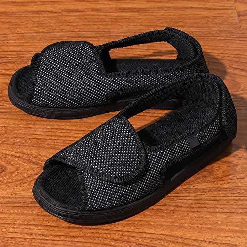 Zapatillas diálogas para mujer, regulables, ortopédicas, con punta abierta, grande, con cierre de velcro para personas mayores, pies hinchados, artritis y edema, para interiores y exteriores