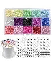 7500 stuks glazen kraaltjes, 3 mm, veelkleurig assortiment kleine kraaltjes, met kreeftsluitingen, springringen, kralen koord en doos, voor kinderen en volwassenen, maak zelf armbanden, kettingen en sieraden.