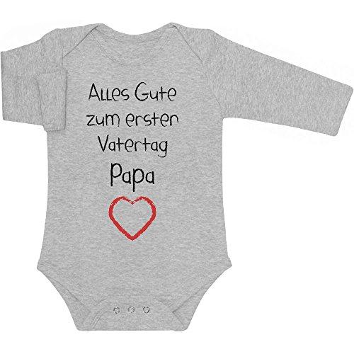 Shirtgeil Alles Gute zum ersten Vatertag Papa Herz - Vater Geschenk Langarm Baby Body 3-6 Monate Grau