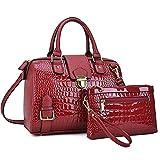 Dasein Women Barrel Handbags Purses Satchel Bags Top Handle Shoulder Bags Vegan Leather Work Bag (Crocodile Wine + Clutch)