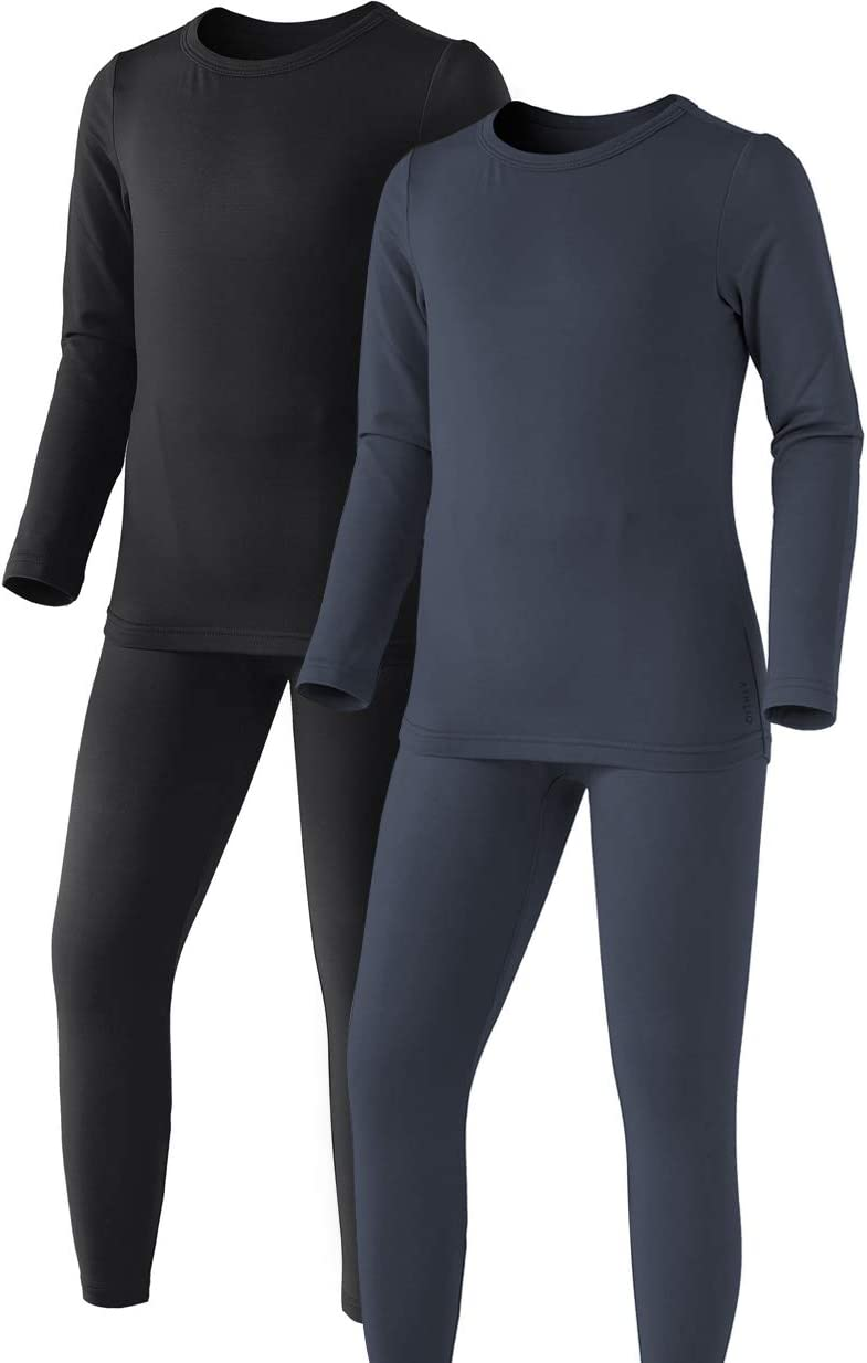 ATHLIO 2 Pack Kid's Winter Thermal Underwear Long Johns Set, Fleece Lined Warm Base Layer, Top & Bottom for Cold Weather