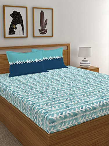 Trident Comfort Living Printed 120 TC Cotton Double bedsheet with 2 Pillow Covers- Chiara Blue