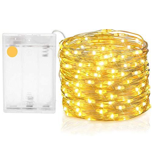 Yakamoz 10m 100 LED Guirlande LED Fil de Cuivre de Lumières, 3AA Batterie(non incluses) Décor Propulsé Guirlandes Pour Saisonnier Noël Décoratif, Mariage, Parties Avec Boîte à Batterie (Blanc Chaud)