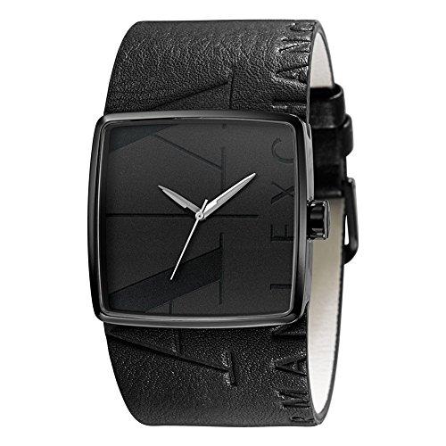 Armani Exchange Leather Strap Black Dial Men