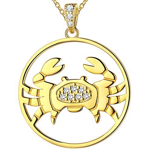 Sternzeichen 12 Sternbild Krebs Halskette für Männer Frauen 925 Sterling Silber 18K vergoldet Horoskop Anhänger Astrologie Schmuck Geburtstagsgeschenk für Freundin Frau FP0093X