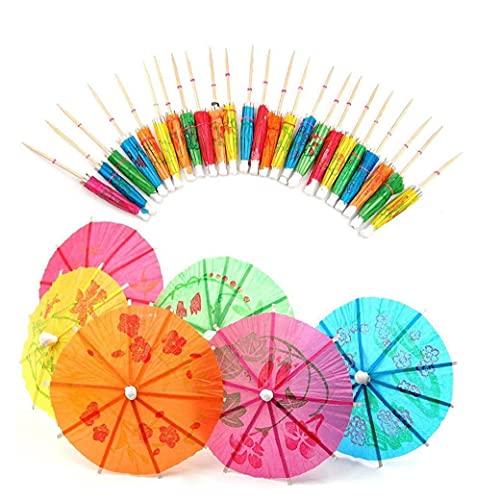 Palillos de dientes, 50 PCS Equipo mixto Cóctel de cócteles parasoles para fiestas bebidas tropicales, etiqueta de frutas, etiqueta de vino- Accesorios de cóctel