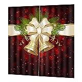 tanbea-UK Cortinas navideñas, engrosadas a prueba de agua, panel de cortina de Navidad con campana de Navidad para sala de estar, dormitorio, cortinas de ventana, 170 cm200 cm