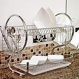 AOOGPLRUM 2 camadas Prato de secagem Rack Titular cesta banhado a Ferro casa lavagem excelente pia da cozinha escorredor (1)