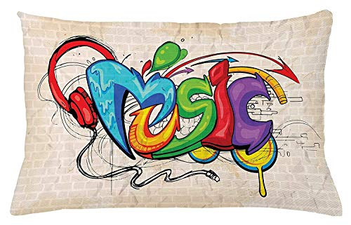Nifdhkw Music Throw Kissen Cushion Cover, Illustration of Graffiti Style Lettering Headphones Hip Hop Theme on Beige Bricks, Decorative Square Accent Kissen Case, 20 X 30 Inches, Multicolor