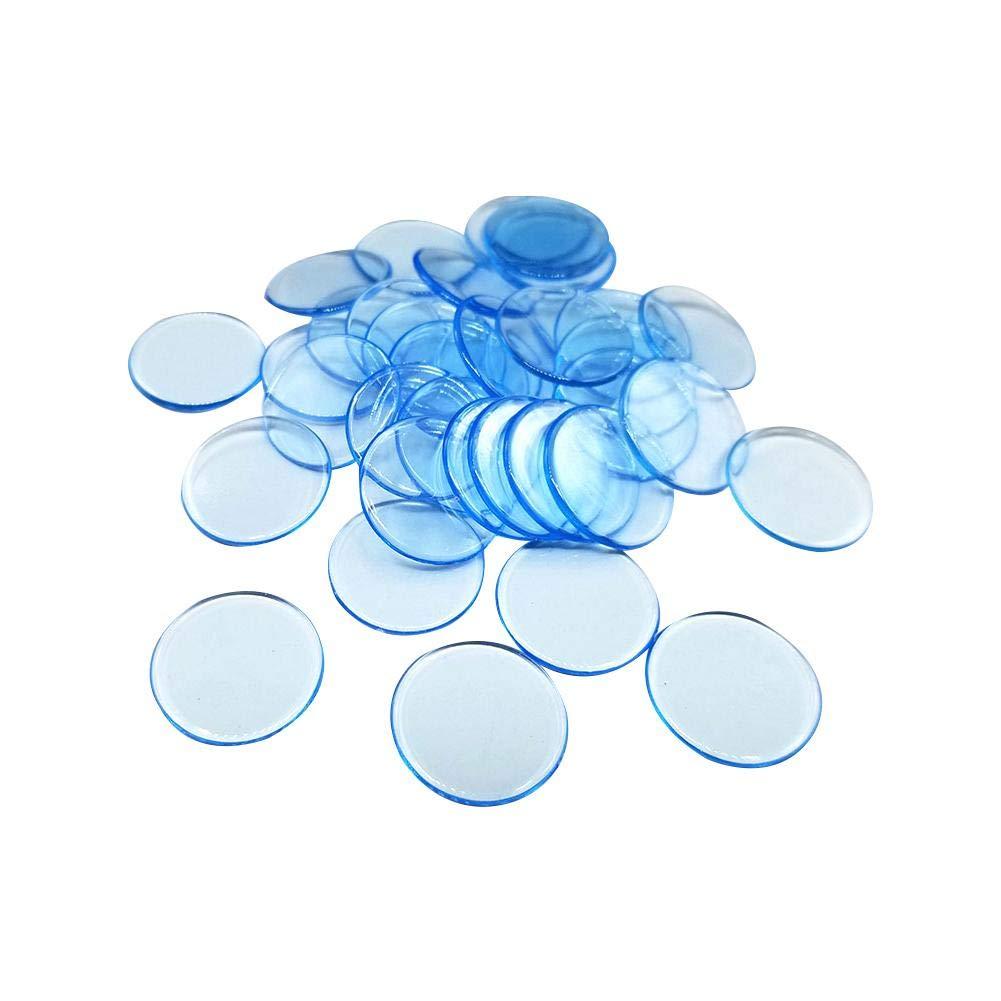 Minear - 100 fichas de plástico Reutilizables, Redondas y Lisas, para Juegos de Sociedad, Juegos de Tarjetas, Juegos de Contador, etc, Bleu Clair Transparent: Amazon.es: Hogar