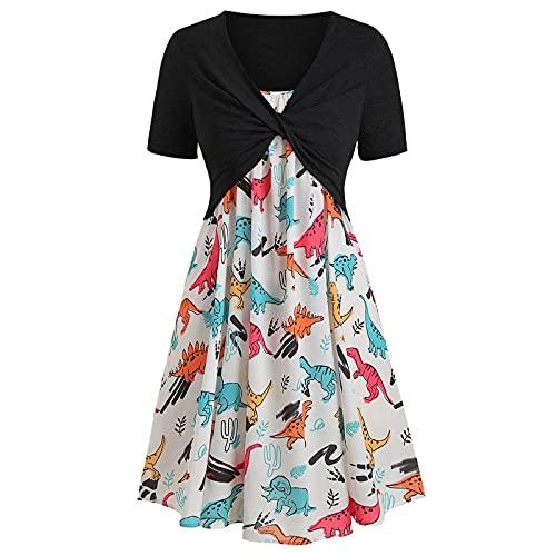 Sommerkleid Kleid Damen mit V-Ausschnitt Kurze Strand Freizeitkleider Sommerkleid Druck Loose Kleid Minikleid(Schwarz,S)