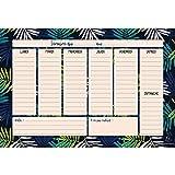 Exacompta 3370010E - Un bloc encollé en-tête Hebdo planer Color comprenant 60 feuilles détachables, design feuilles