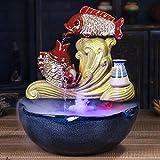 Fuente de Mesa Cascada de meditación Fuente de escritorio creativa de cerámica de pescado con 13' Base de cerámica Lucky Feng Shui interior de la fuente del acuario de la sala equipamiento casero de l