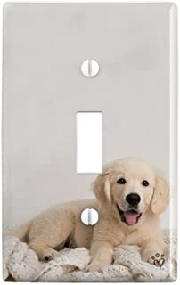 GRAPHICS & MORE Golden Retriever Puppy Dog and Blanket Plastic Wall Decor Toggle Light Switch Plate Cover