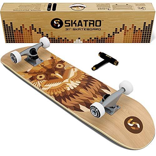 Skatro - Skateboard professionnel complet - 78,7 cm pour adultes, garçons, filles, débutants et enfants, mixte adulte Garçon Fille, Light Owl
