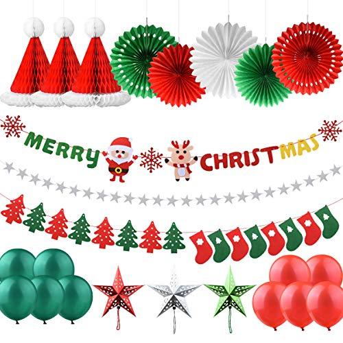 AsperX Zestaw dekoracji bożonarodzeniowych, 25 szt. X Mas, dekoracja świąteczna, baner i skarpety, flaga na drzewie, girlanda filcowa, gwiazdy, girlanda bożonarodzeniowa, girlanda z płatków śniegowych, fanów, Honeycomb Hat