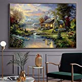 Farmhouse Poster Nature Modern Thomas Kinkade Landscape Oil Painting Canvas Prints Home Decoration Maison Mountain Lake Art|60x90cm/No Frame