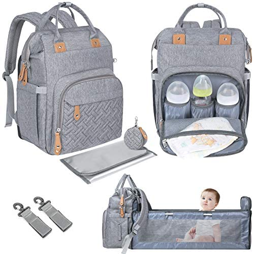 Diaper Bag Backpack with Changing Bed Upgraded Travel Bassinet Station Design Detachable Pacifier product image