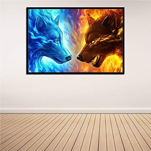 WSNDGWS ijswolf en vuurwolf grote vleermuis canvas schilderij huis woonkamer decoratie hangen afbeelding geen fotolijst 30x40cm A2