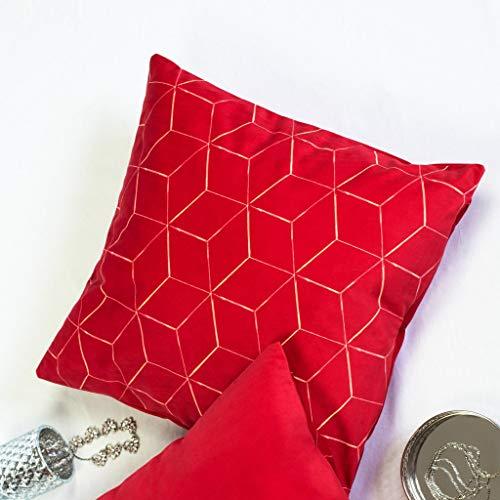 Offtopic Juego de 2 fundas de cojín para sofá, 45 x 45 cm, de terciopelo suave, cojines decorativos elegantes con diseño italiano y parte trasera lisa | lavable a máquina | Cube rojo
