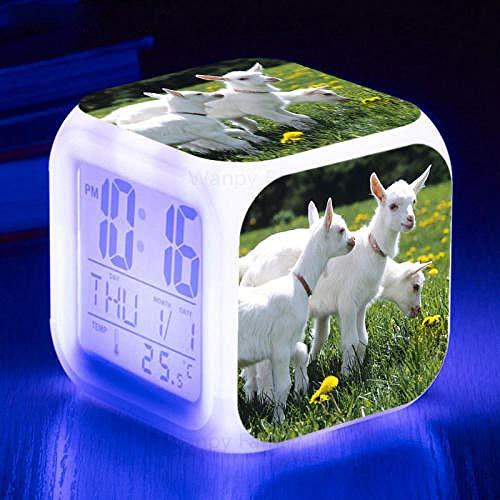 FPRW wekker dieren hagedissens, elektronische klok met touch-sensor, 7 kleuren, verlichte digitale wekker, type 20